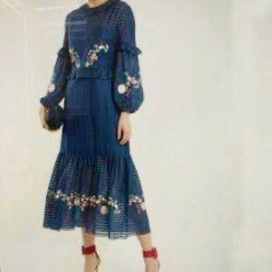 VILSHENKO Embroidered Maxi Dress Size: S/M    UK8